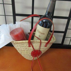 """MUD ROOM Wicker and Red Leather Basket 6""""H"""